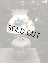 アンティーク ビンテージ USA ミルクガラス テーブルランプ ライト ローズ 薔薇