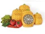 キッチン キャニスター 野菜 ベジタブル ウォールクロック 壁掛け時計 ヴィンテージ 1980's vintage Burwood社製