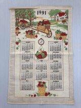 2019年のカレンダーに使えます!!  1991年 ヴィンテージ キッチンリネン ティータオルカレンダー vintage USA ヨーロッパ