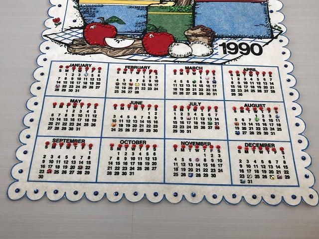 1990年 フェルト ヴィンテージ カレンダー vintage USA ヨーロッパ オールド ビンテージ                                    [in-356]